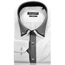 Men Dress Shirt White Black Stripe Middle 1111 01 A