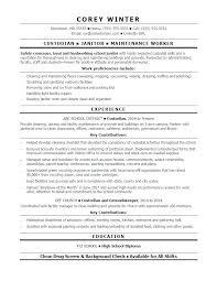 Custodian Resume Sample Custodial Worker Job Skills