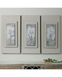 Triptych Trees Framed Canvas Wall Art 3 Piece Set Multicolor