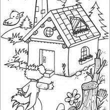 Wolf Blows Down Wood House Coloring Pages
