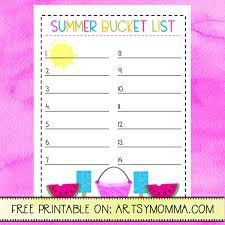 Printable Summer Bucket List For Activities