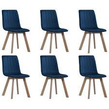 vidaxl esszimmerstühle 6 stk blau samt