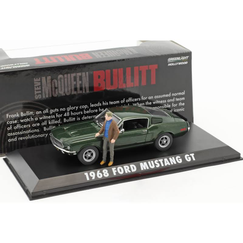 Greenlight Steve McQueen Bullitt Ford Mustang GT Figure - 1:43 Scale