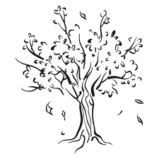 tree with falling leaves wall decal