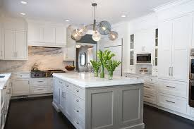 gray isl and with white kitchen kitchen transitional and