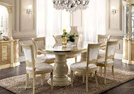 ESF Aida High Gloss Ivory Gold Finish Dining Room Set 7 Pcs Made In Italy By