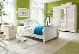 details zu massivholz schlafzimmer set 3tlg komplett kiefer massiv weiß landhaus bett 140cm