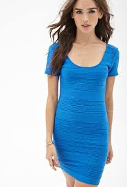 forever 21 patterned bodycon dress in blue lyst
