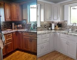 Kitchen Delightful White Painted Kitchen Cabinets Before After