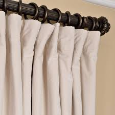 105 Inch Blackout Curtains by Signature Ivory Double Wide Velvet Blackout Pole Pocket Single