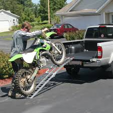 Aluminum Folding Arched Single Runner Motorcycle Ramp - 7'5