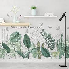 großhandel tropische pflanzen grüne blätter aufkleber wohnzimmer schlafzimmer badezimmer kinderzimmer vinyl wandtattoos kunst wandbilder wohnkultur