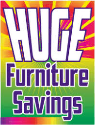 Plastic Window Sign Huge Furniture Savings