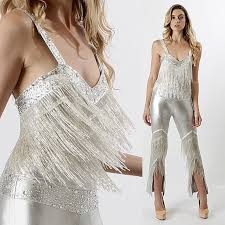 Vintage 70s SILVER Beaded FRINGE Disco Maxi Dress Bodycon Cocktail Party JUMPSUIT