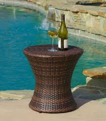 Outdoor Side Table Wicker Bistro Coffee Patio Accent