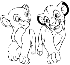 Simba And Nala Coloring Pages For Kids Printable Lion King