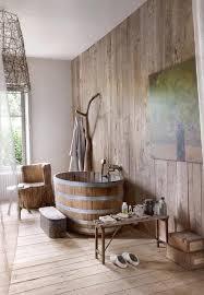 BathroomAwesome Rustic Bathroom With Oval Brown Wood Bathtub And Trunk Log Chair Near