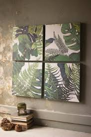 Bohemian Green Tropical Leaves Wall Art Paintings