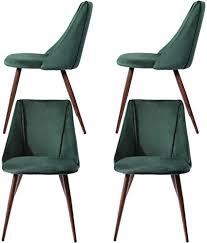 dorafair 4er set esszimmerstühle samt vintager retro küchentisch stühle mit hölzernen stabilen metallbeine für esszimmer grün