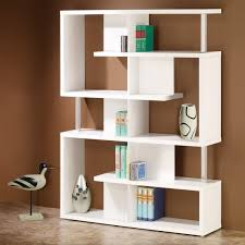 decorations wooden bookshelf design on the white wall with