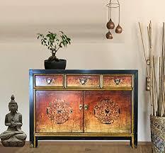 opium outlet asia kommode schlafzimmer sideboard vintage schränkchen anrichte orange shabby chic stil