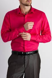 mens shirt by ventuno 21 with single cuff in fuschia satin poplin
