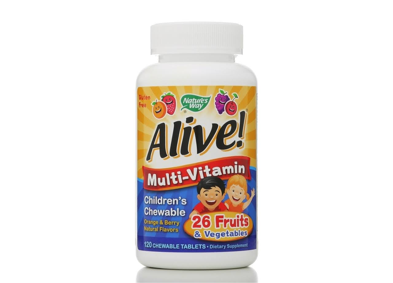 Nature's Way Alive Children's Multi-Vitamin Chewableable Tablets - Natural Orange and Berrry Flavors, 120ct