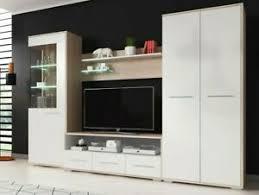 details zu wohnwand fien mit kleiderschrank anbauwand wohnzimmer set tv schrank led