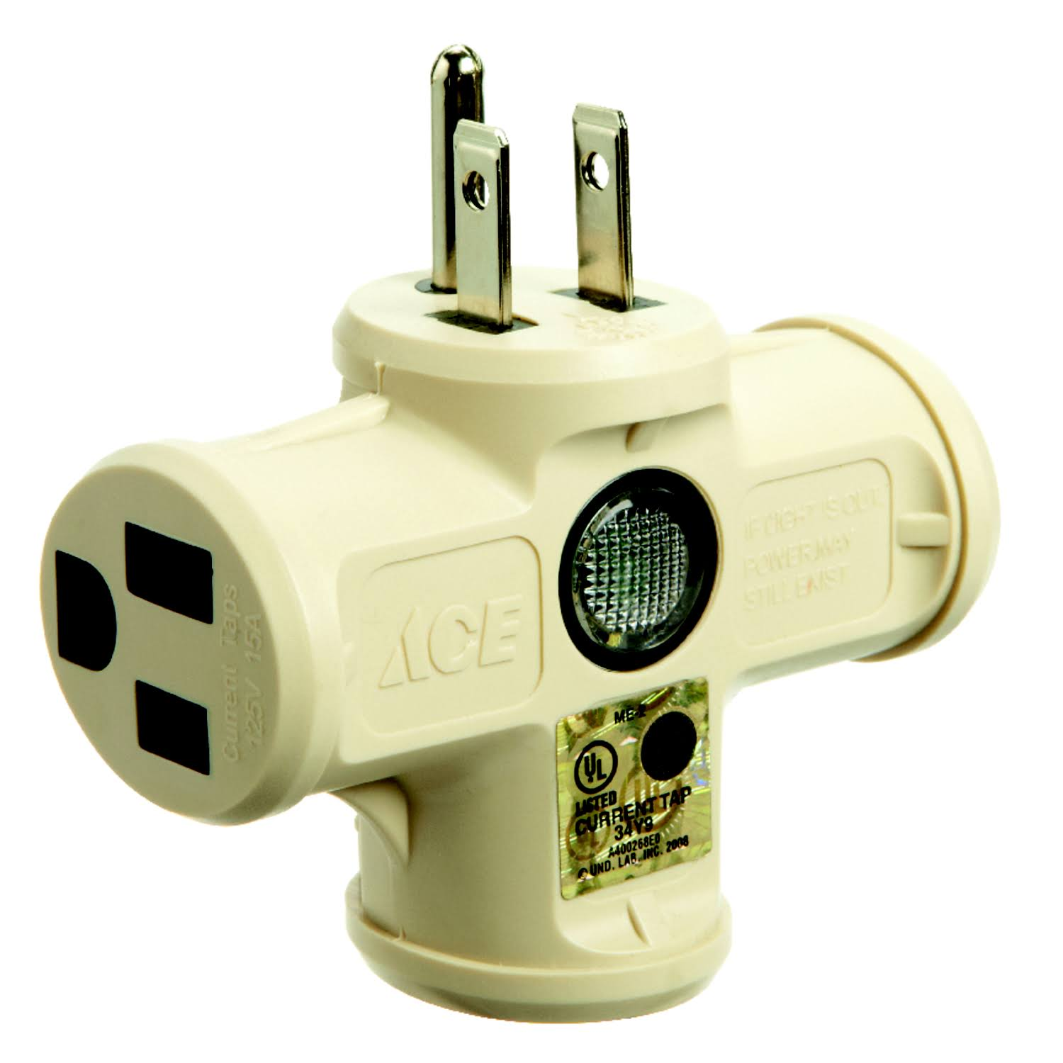 Ace Triple Tap Outlet Adapter With LED Light - Beige