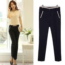 Work Wear New Fashion 2015 Spring Summer Korean Style Ladies Black Beige Pencil Trousers Formal Women Pants 1301