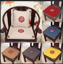 großhandel ethnische stickerei vintage stuhl sitzkissen baumwolle leinen home decor chinesischen stil esszimmerstuhl runden rückenlehnen kissen