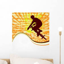Bmx Cyclist Template Vector Wall Mural By Wallmonkeys Peel And Stick Graphic WM164953 18H X 17W