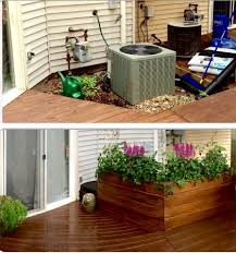 Decorative Outdoor Well Pump Covers by Ac Unit Cover Up With Large Planter Stained With Walnut Semi