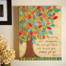 Courageous Painting Christian Wall Art Canvas Home Decoration Colorfull Tree Nature Text Quotations Motivation