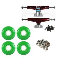 Skateboard Trucks Dark Red/Silver 52mm Green Abec 9 Bearings Combo ...