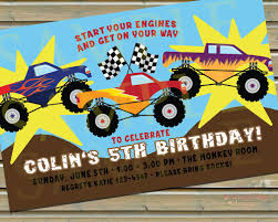Monster Truck Birthday Invitations - 20 Or 30 Printed Invitations ... Free Printable Birthday Cards With Monster Trucks Awesome Blaze And The Machines Invitations Templates List Truck Party 50 Unique Ideas Cookie Free Pvc Invites Vip Invitation Novel Concept Designs Mud Thank You Card Truck Party Printable