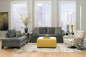 foxy image of yellow and grey living room decoration with square