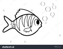 Little Fish With Bubbles As Coloring Book Black And White