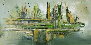abstraktes wandbild grün original gemälde abstrakte