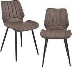 en casa 2x stühle dunkelbraun gepolstert in wildlederimitat lehnstuhl esszimmer stuhl polsterstuhl lounge set