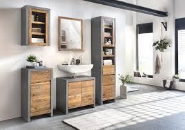 woodkings bad set burnham echtholz recycelte pinie natur rustikal badmöbel set modern loft badezimmerset holz badschrank set grau