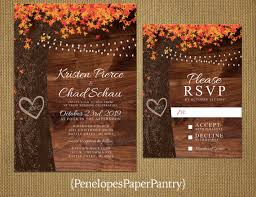 Elegant Rustic Fall Wedding InvitationOak TreeFall LeavesCarved HeartCarved InitialsFairy LightsRusticRomanticPrinted Invitation