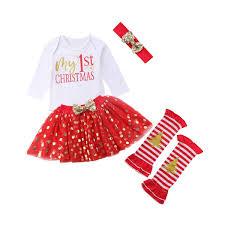 MISOWN 4pcs Baby Girls First Christmas Costume Romper Tutu Dress Up