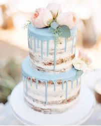 Naked Cake With Blue Details Wedding Mint Blush Blooms Decorated