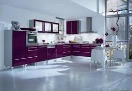 Modern Decor Purple Kitchen Design With White Walls And Floors Fitted Wardrobes Dining Table