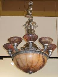 Rare Art Deco Alabaster Chandelier