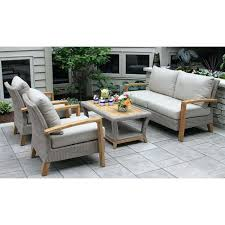 Dillard Furniture Teak And Wicker 4 Piece Deep Seating Group With Cushion Department Store
