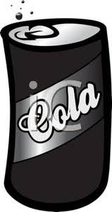 Black and White Can of Cola Soda Clipart