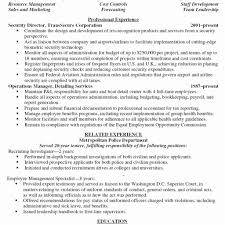Sample Security Manager Resume Director Of