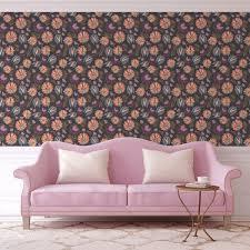 grau rosa florale tapete mit großen blüten angepasst an greene wandfarbe